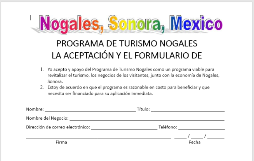 Acceptance Form in Spanish